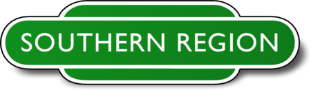 Station totem design prior to 1965 Southern Region of British Railways totem Redvers.png