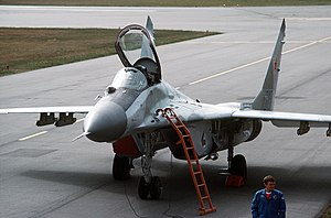 Abbotsford International Airshow - MiG-29 fighter parked on the ramp after a demonstration flight at the Abbotsford Air Show, 1989.