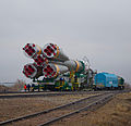 Soyuz TMA-21 spacecraft is rolled out by train.jpg