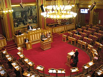 Storting - Interpellation (spørretimen) being held inside the hemicycle of the building