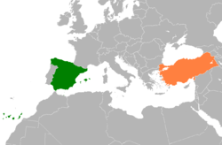 Map indicating locations of Spain and Turkey