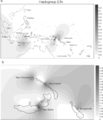 Spatial frequency distribution of mtDNA haplogroup E1b in Island Southeast Asia and the western Pacific.png