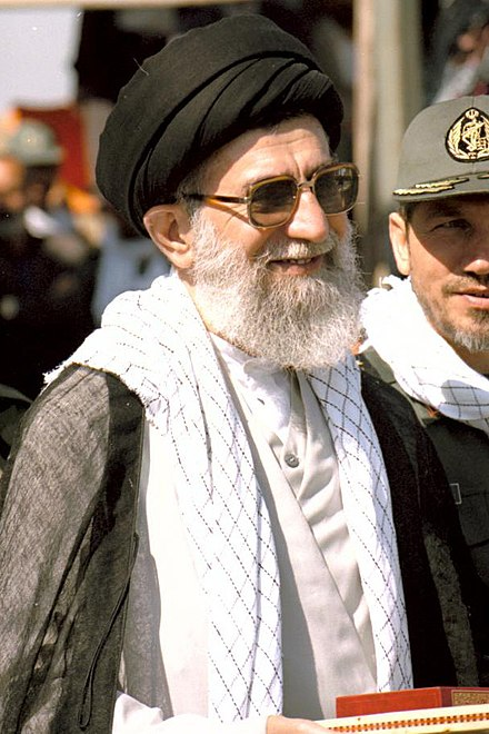 Supreme leader of Iran (Seyyed Ali Khamenei) is the highest-ranking official in Iran, and is Iranian Azeri on his father's side Special military ceremony- University of Imam Hussein -Commander-in-chief of Iranian Armed Forces (55).jpg