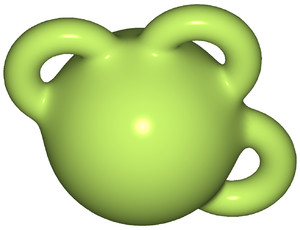 Geometric topology - A 3-ball with three 1-handles attached.