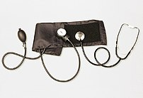 Conventional (mechanical) sphygmomanometer with aneroid manometer and stethoscope