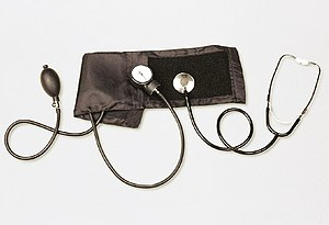 Conventional (mechanical) sphygmomanometer wit...