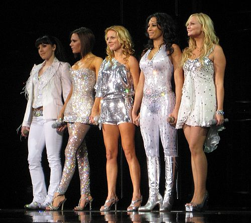 Spice Girls, the best-selling female group of all time, one of the best-selling pop groups of all time, and the biggest British pop phenomenon since Beatlemania Spice Girls in Toronto, Ontario.jpg