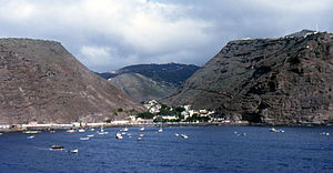 RFA Darkdale - View from James Bay towards Jamestown, Saint Helena