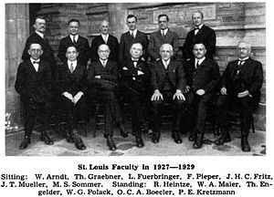 Christian Cyclopedia - Ludwig Fuerbringer is standing in the back row, the third one from the left. This is a picture of the faculty of the St. Louis Seminary in 1927-1929.