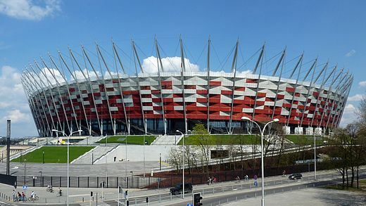 The National Stadium in Warsaw, home of the national football team, and one of the host stadiums of Euro 2012 Stadion Narodowy w Warszawie 20120422.jpg