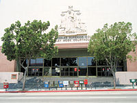 The Hill Street entrance to the Stanley Mosk County Courthouse, located at First and Hill Streets in the Los Angeles Civic Center.