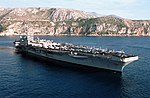 Starboard bow view of USS George Washington (CVN-73) anchored at Dubrovnik 2000 DN-SD-03-12690.jpg