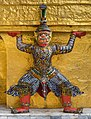 Statue of Yaksha supporting one of the Two Golden Chedi of Wat Phra Kaew, Bangkok, Thailand.jpg