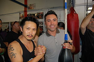 Steven Ho (martial artist) - Steven Ho with Oscar De La Hoya at the Westside Boxing Club in Los Angeles in 2009