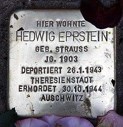 Photo of Hedwig Eppstein brass plaque