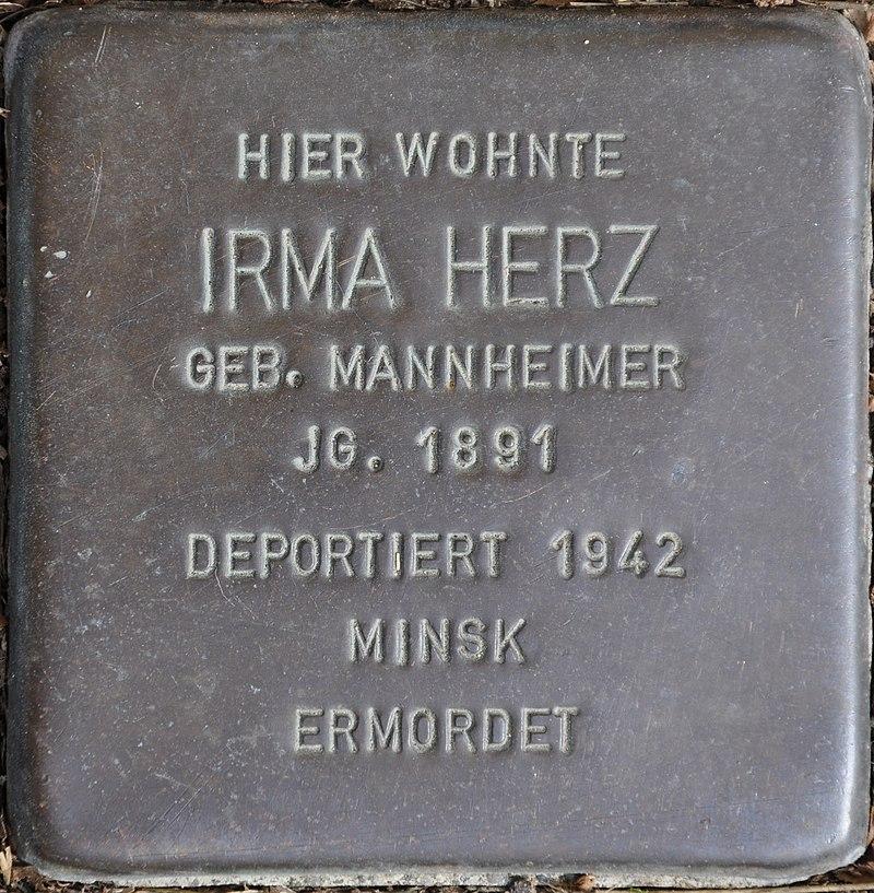 Stolpersteine Euskirchen-Flamersheim, Irma Herz (Große Höhle 17).jpg