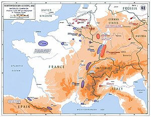 Hundred Days - Strategic situation in Western Europe in 1815: 250,000 Frenchmen faced a coalition of about 850,000 soldiers on four fronts. In addition, Napoleon was forced to leave 20,000 men in Western France to reduce a royalist insurrection.