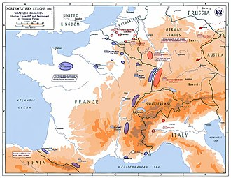 Waterloo Campaign - Strategic situation in Western Europe in 1815: 250,000 Frenchmen faced a coalition of about 850,000 soldiers on four fronts. In addition, Napoleon was forced to leave 20,000 men in Western France to reduce a royalist insurrection.