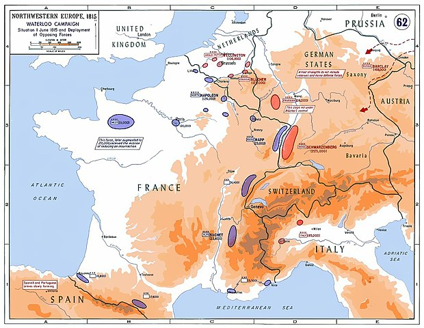 The strategic situation in Western Europe in 1815: 250,000 Frenchmen faced a coalition of about 850,000 soldiers on four fronts. Napoleon was forced to leave 20,000 men in Western France to reduce a royalist insurrection. Strategic Situation of Western Europe 1815.jpg
