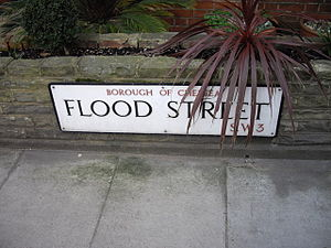 Flood Street - Street sign for Flood Street, Borough of Chelsea, SW3.