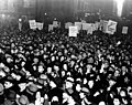 Strikers during the Dressmakers' Strike of 1933 gather in the streets and urge unionization. (5279081959).jpg