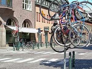Student prank - Bicycles hanging high as the result of a student prank in Lund, Sweden.