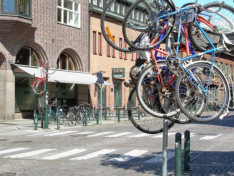Student prank with bicycles