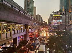 Sukhumwit Road intersection with the Asok Montri Road in Watthana District to the right