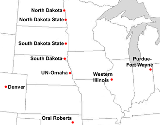 Summit League - Locations of current and future Summit League full member institutions.