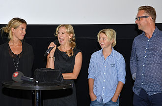 The Anderssons Rock the Mountains - Some of the people behind the film. From left: Producer Teresa Alldén-Willey, actors Anja Lundqvist and William Ringström, and producer Patrick Ryborn.