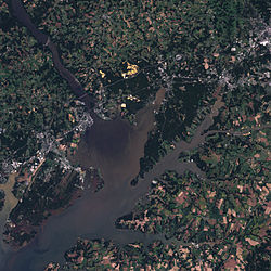 Satellite photo of the Susquehanna (upper left) where it empties into Chesapeake Bay (center)