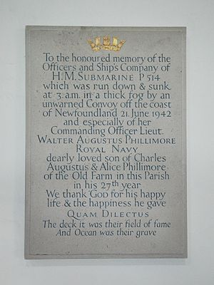 USS R-19 (SS-96) - Church monument at Swinbrook, England, to Lt. Phillimore and the crew of HMS P.514