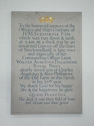 Swinbrook - HMS P514 monument in St Mary the Virgin parish church