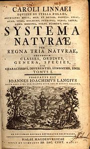 Title page of the 1760 edition of Systema Naturae of Carl Linnaeus.
