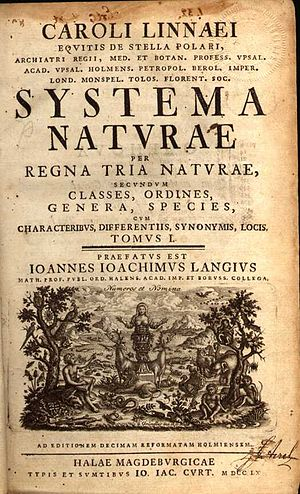 Title page of Systema Naturae, 10th edition, 1758.
