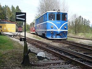 Narrow-gauge railways in the Czech Republic - T47.015 with train from Obrataň to Jindřichův Hradec