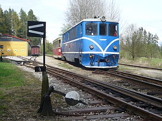 Narrow-gauge railways in the Czech Republic - T47.015 with train from Obrataň to Jindřichův Hradec