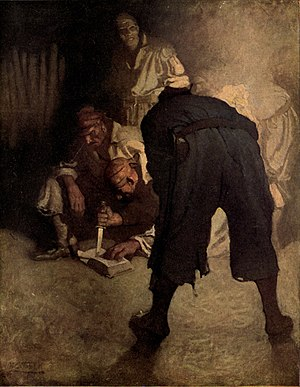 Black Spot (Treasure Island) - The pirates prepare the Black Spot; N. C. Wyeth, 1911