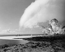"Operation ""Sailor Hat"", 1965. The detonation of the 500-ton TNT explosive charge for test shot ""Bravo"", first of a series of three test explosions on the southwestern tip of Kahoʻolawe Island, Hawaii, February 6, 1965"