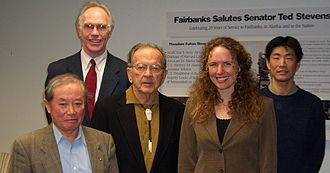Syun-Ichi Akasofu - Akasofu (left), with then-U.S. Senator Ted Stevens (center), Katey Walter (second from right), Larry Hinzman (back left) in 2008