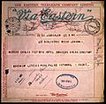 Telegram from Johnston-Saint, Jerusalem.. Wellcome L0017440.jpg