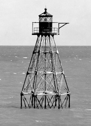 Unmanned reef lights of the Florida Keys - The Tennessee Reef Light, shown in this 1966 USCG photo, is typical of the 1932 design for unmanned lights