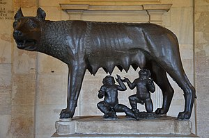 Rome - Capitoline Wolf suckles the infant twins Romulus and Remus