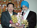 The Chief Minister of Sikkim, Shri Pawan Kumar Chamling meeting with the Deputy Chairman, Planning Commission, Dr. Montek Singh Ahluwalia to finalize annual plan 2008-09 of the State, in New Delhi on February 15, 2008.jpg