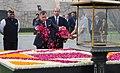 The King of Jordan His Majesty Abdullah II Bin Al-Hussein paying floral tributes at the Samadhi of Mahatma Gandhi, at Rajghat, in Delhi.jpg