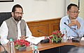 The Minister of State for Minority Affairs (Independent Charge) and Parliamentary Affairs, Shri Mukhtar Abbas Naqvi chairing a review meeting of the Ministry of Minority Affairs, in New Delhi.jpg