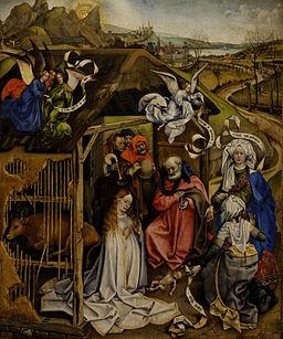 Robert Campin, Natività, 1420 circa, Museo delle Belle arti di Digione. Foto di Yelkrokoyade