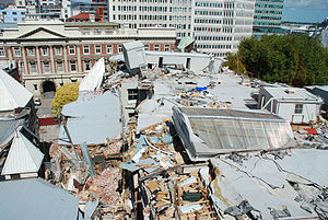 The Press Building, Christchurch - The roof of The Press Building showing the collapsed top floor, as seen from the new Press building