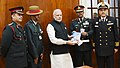 The Prime Minister, Shri Narendra Modi with the Officers of the Kendriya Sainik Board, on the occasion of the Armed Forces Flag Day, in New Delhi on December 07, 2016.jpg