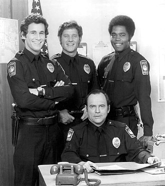 The Rookies - Cast of The Rookies. Standing from left, Michael Ontkean, Sam Melville, Georg Stanford Brown. Seated, Gerald S. O'Loughlin.